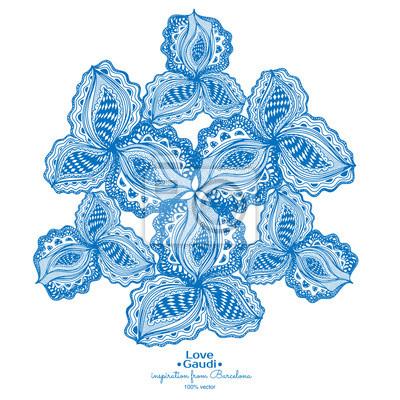 Bleu élément floral abstrait avec du texte pour le design décoratif.