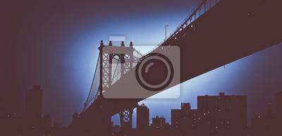 Bleu, incandescent, Manhattan, Pont, duotone, concept