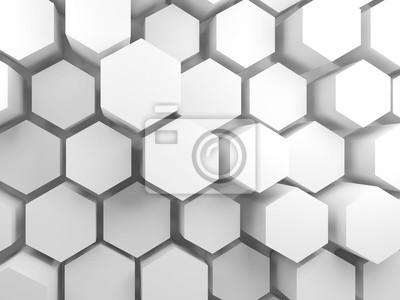 Blocs hexagonaux blancs sur le mur, 3d