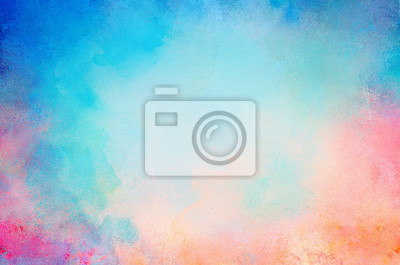 Sticker blue watercolor paint background design with colorful orange pink borders and bright center, watercolor bleed and fringe with vibrant distressed grunge texture
