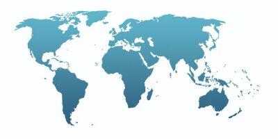 Sticker blue world map