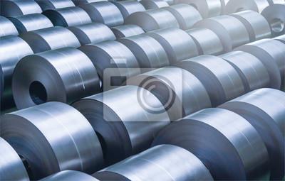 Sticker Bobine en acier laminée à froid dans la zone de stockage de l'usine sidérurgique.