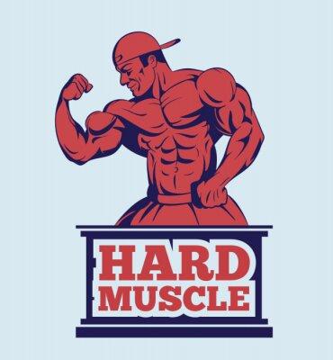 Sticker Bodybuilder, Fitness, modèle, poser, logo. Emblème homme muscle