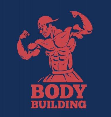 Sticker Bodybuilder, muscle, homme, forme physique, modèle, poser, logo. Bodybuilder, projection, muscles, bodybuilding, emblème