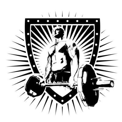 Sticker bodybuilder shield