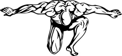 Sticker Bodybuilding et de Powerlifting - illustration vectorielle.