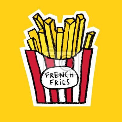 Boîte, frites, jaune, fond