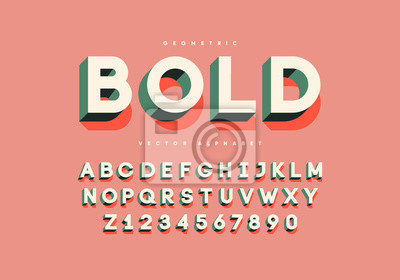 Sticker Bold retro font with numbers. Trendy 3d alphabet. Eps10 vector.