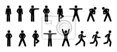 Sticker bonhomme allumette, ensemble d'icônes personnes, mouvement de base, homme pose, silhouettes humaines de pictogramme