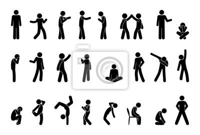 Sticker bonhomme allumette pictogramme personnes, ensemble de silhouettes humaines, icône de l'homme, diverses poses, gestes et mouvements