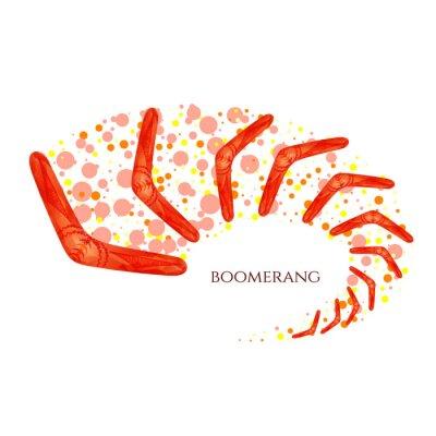 Sticker Boomerang en mouvement. Imitation d'aquarelle. Boomerang comme symbole de l'Australie. Illustration vectorielle isolée.