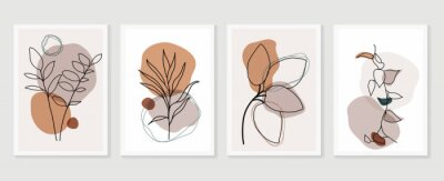 Sticker Botanical wall art vector set. boho Foliage line art drawing with  abstract shape.  Abstract Plant Art design for print, cover, wallpaper, Minimal and  natural wall art.
