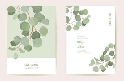 Sticker Botanical wedding invitation card template design, tropical leaves greenery frame set