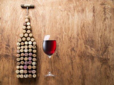 Sticker Bouchons de vin en forme de bouteille de vin.