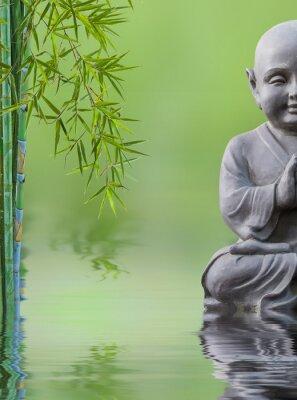 Sticker Bouddha enfant et bambou aquatique, composition zen