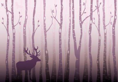 Sticker Bouleau, arbre, forêt, vecteur
