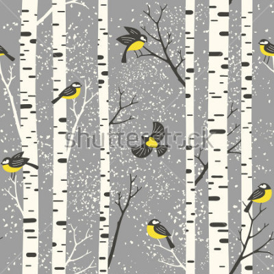 Sticker Bouleaux enneigés et oiseaux sur fond gris. Modèle vectorial continue. Parfait pour la conception de tissus, de papiers peints, de papiers cadeaux ou de cartes postales.