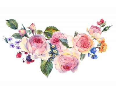 Sticker Bouquet aquarelle de roses anglaises et de fleurs sauvages