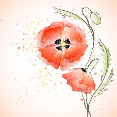 Sticker Bouquet de coquelicots rouges