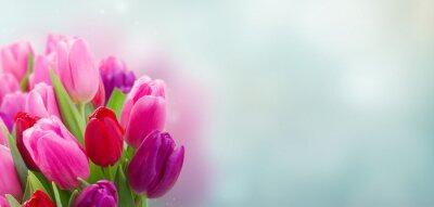 Sticker bouquet de fleurs de tulipes roses et violets
