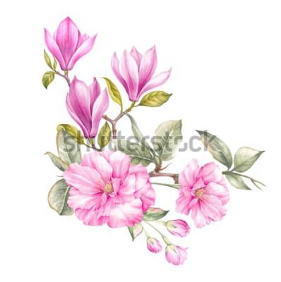 Sticker Bouquet de magnolia. Carte d'invitation pour mariage, anniversaire et autre fond de vacances et d'été. Illustration botanique