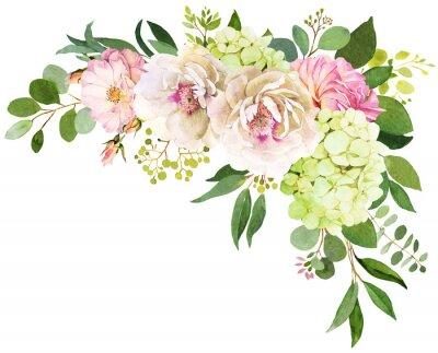 Sticker Bouquet de mariage. Illustrations aquarelle pivoine, hortensia et fleurs roses