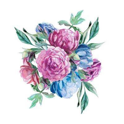 Sticker Bouquet de pivoines isoler sur fond blanc