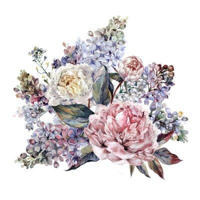 Sticker Bouquet de poisons et lilas Aquarelle