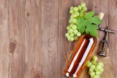 Sticker Bouquet de raisin, bouteille de vin blanc et tire-bouchon