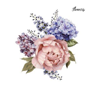 Sticker Bouquet de roses, aquarelle, peut être utilisé comme carte de voeux, carte d'invitation pour le mariage, anniversaire et autres vacances et l'arrière-plan d'été.