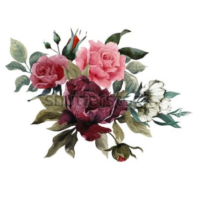 Sticker Bouquet de roses, pivoines et eustoma, aquarelle, peut être utilisé comme carte de voeux, carte d'invitation pour mariage, anniversaire et autre fond de vacances et d'été