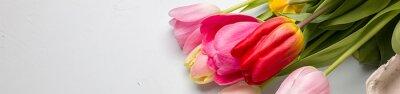 Sticker Bouquet, ressort, tulipes, closeup, lumière, bleu, fond, frontière ...
