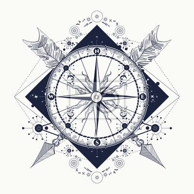 Boussole Croix Fleches Tatouage Art Symbole Du Tourisme Stickers
