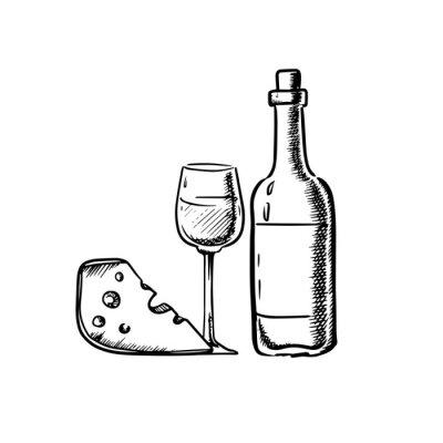 Sticker Bouteille de vin avec le verre et le fromage