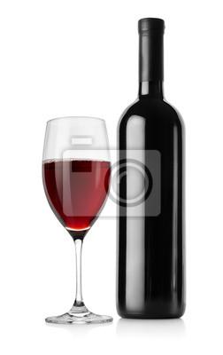 Bouteille de vin rouge et verre à vin