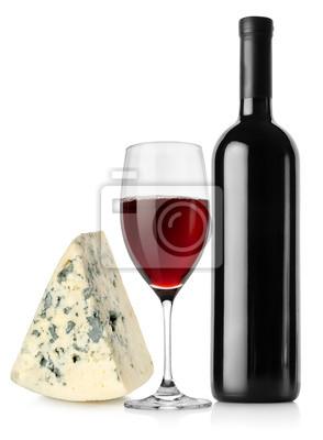 bouteille de vin, verre à vin et fromage
