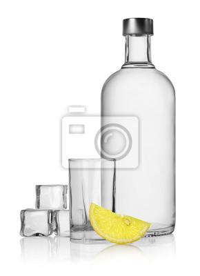 Bouteille de vodka et de citron