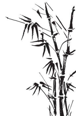 Sticker branches de bambou isolés sur le fond blanc. Vecteur