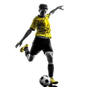 Sticker brésilienne joueur de football de football jeune homme coups de pied silhouette