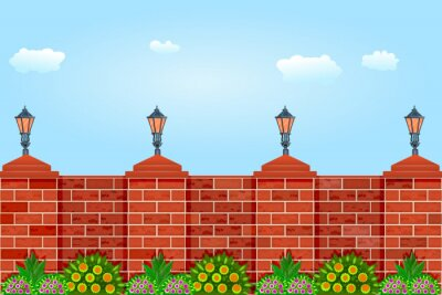 Sticker Brick fence against the sky.Fence with pillars of bricks, street lamps, green plants and blue sky.Red brick poles fence.Scenery of city park or street wall. Motives of architecture.Vector illustration