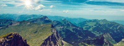 Sticker Bright Sun fil vert Mountain Range