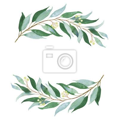 Sticker Brindille de mariage vert. Illustration aquarelle.