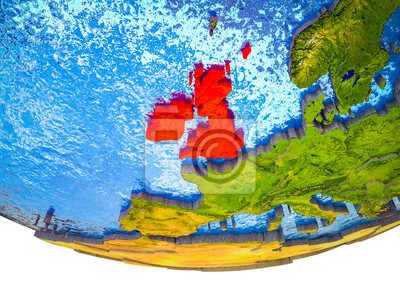 Sticker British Isles on 3D Earth with divided countries and watery oceans.