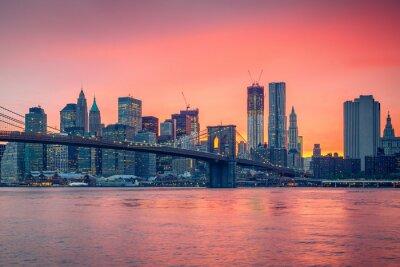 Sticker Brooklyn bridge and Manhattan at dusk