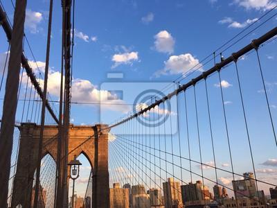 Brooklyn, pont, bâtiment, Manhattan, ville, bleu, ciel, nouveau, York