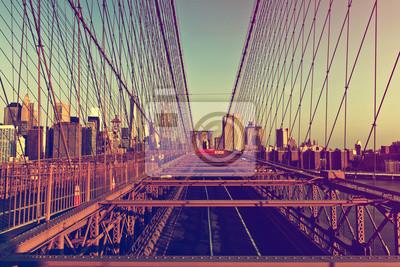 Brooklyn, pont, Manhattan, Horizon, Coucher soleil