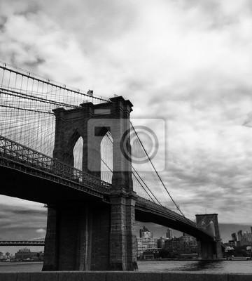 Brooklyn, pont, noir, blanc, image, style