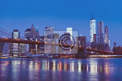 Brooklyn, pont, nouveau, York, crépuscule
