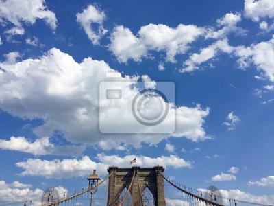Brooklyn, pont, nuageux, bleu, ciel, nouveau, York