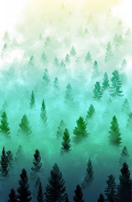 Sticker Brumeux, forêt, paysage